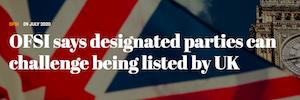 OFSI Says Designated Parties Can Challenge Being Listed By UK