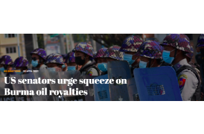 US Senators urge squeeze on Burma oil royalties