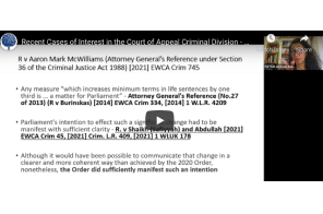 UK: Garden Court Chambers – Recent Cases of Interest in the Court of Appeal Criminal Division – CALA Webinar – 15 July 2021